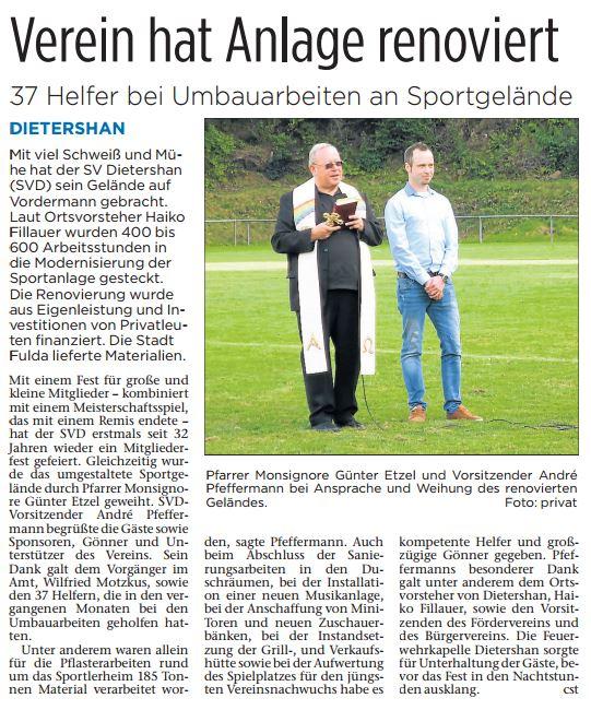 Pressebericht aus der Fuldaer Zeitung zu Mitgliederfest des SVD