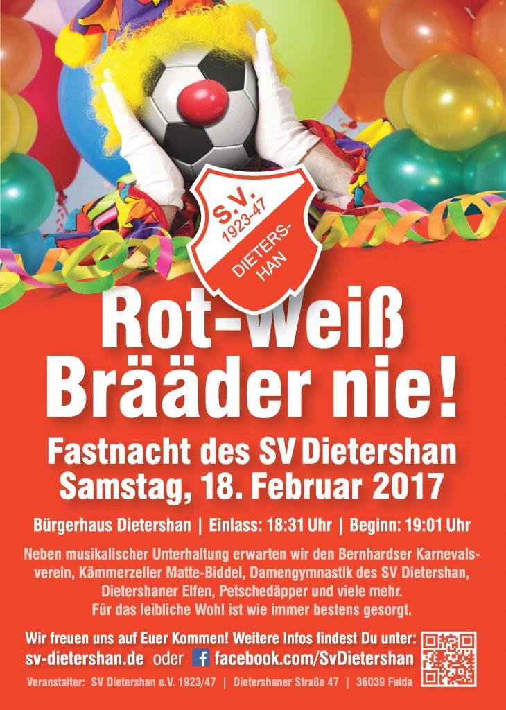 Fastnacht 2017 des Sportverein Dietershan am Samstag, den 18.02