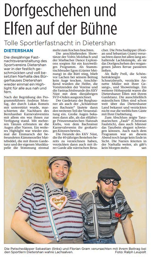 Fastnachtsbericht aus der Fuldaer Zeitung zur Fastnacht 2017