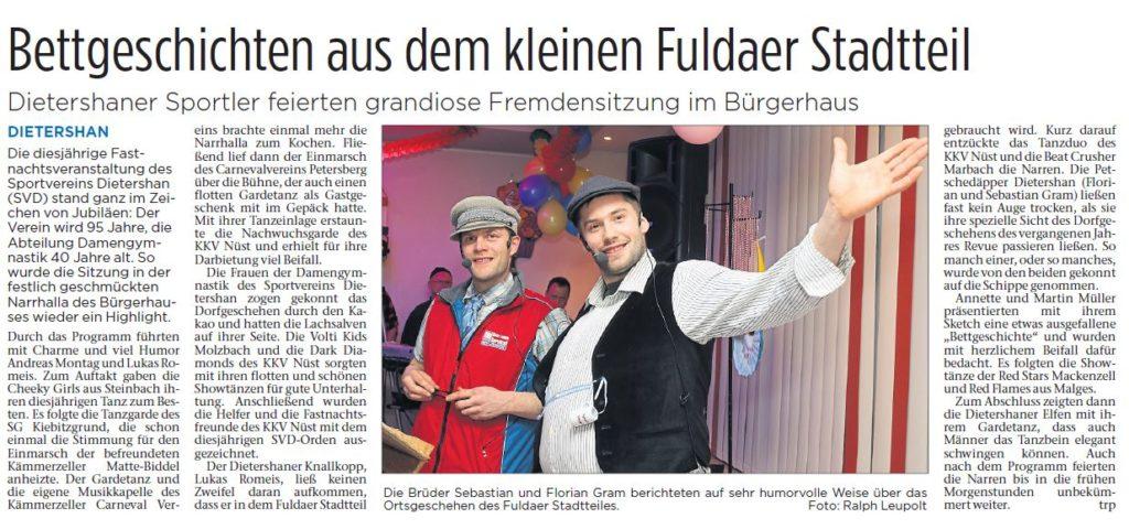 Fastnachtsbericht aus der Fuldaer Zeitung zur Fastnacht 2018