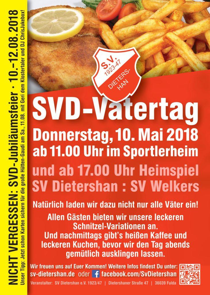 Vatertagsfest beim SV Dietershan am 10. Mai mit Schnitzelessen