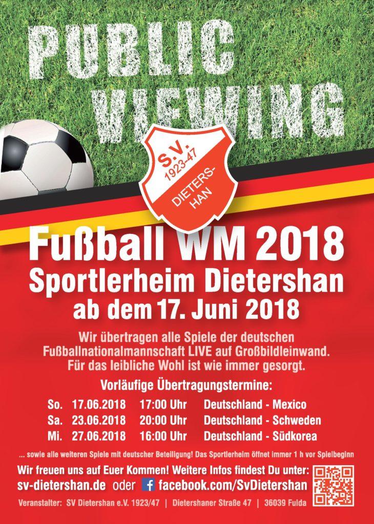 Public Viewing zur WM 2018 im Sportlerheim Dietershan