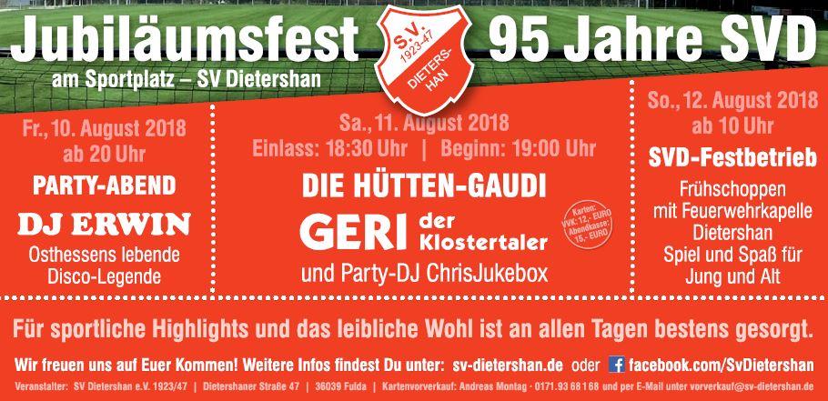 95 Jahre Jubiläumsfest des Sportverein Dietershan