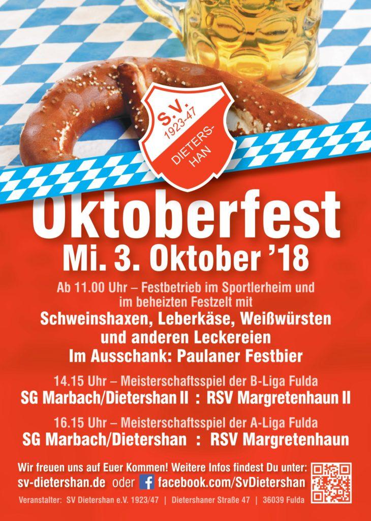 Einladung zum diesjährigen Oktoberfest am Mi. den 03.10.18