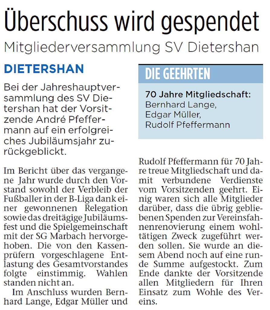 Bericht zur diesjährigen Jahreshauptversammlung des SV Dietershan