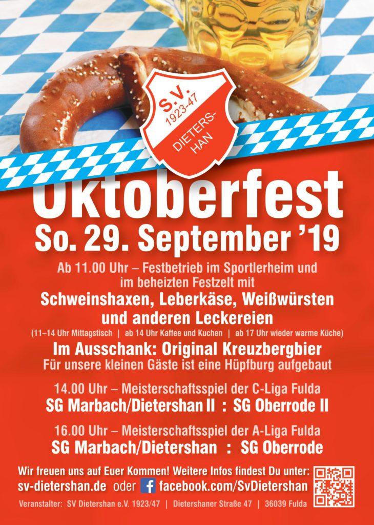 Einladung zum diesjährigen Oktoberfest am So. den 29.09.19