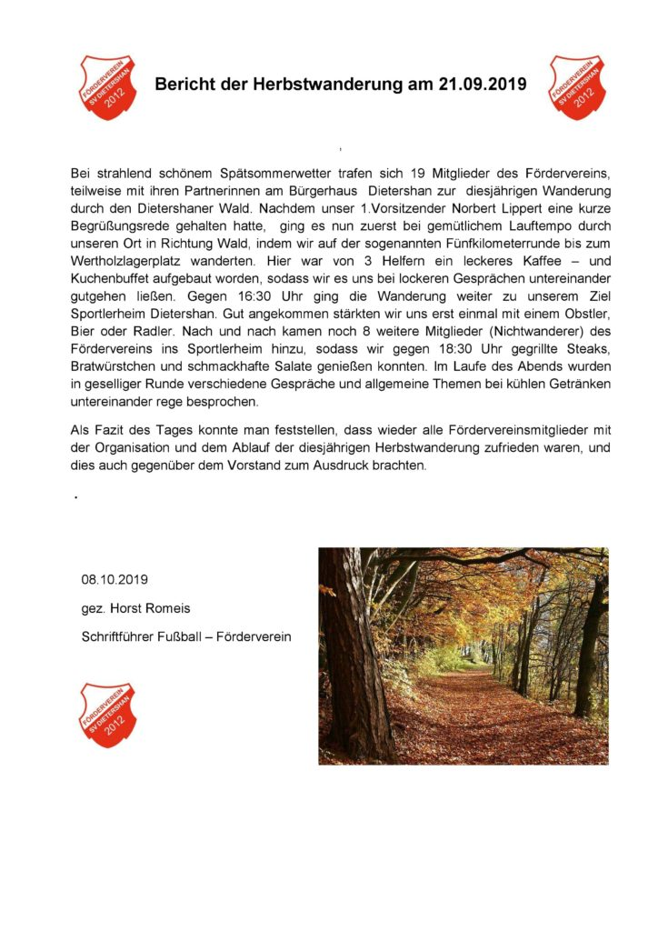Bericht der diesjährigen Herbstwanderung des Förderverein Dietershan